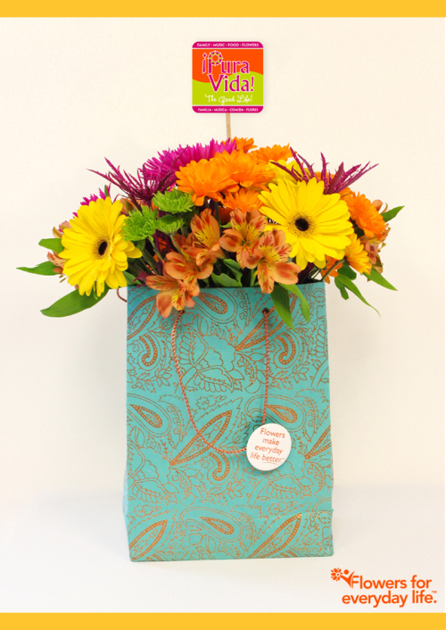Don't have a vase? Try this DIY paper gift bag flower vase
