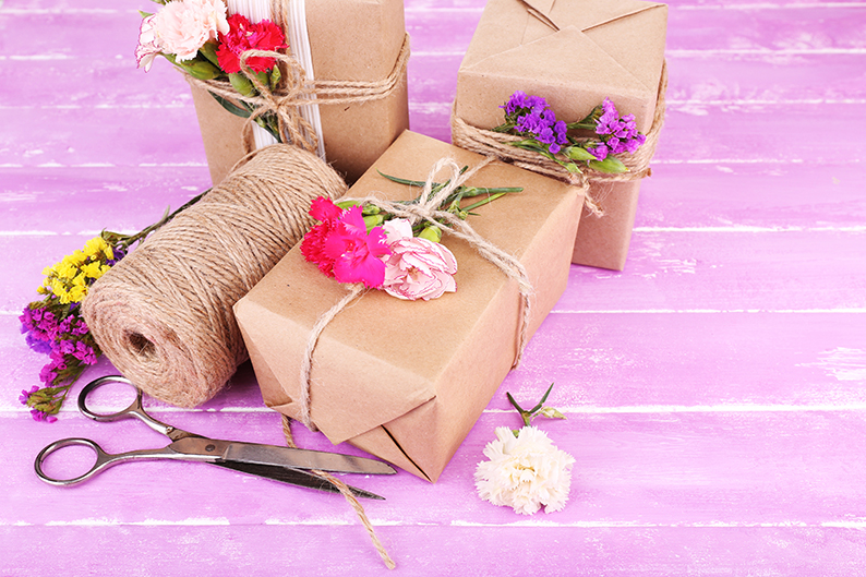 supermarket flowers used on wrapped gifts